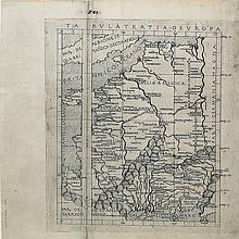 An extremely attractive map of France and Belgium from THE THIRD PRINTED ATLAS AND FIRST IN THE ITALIAN VERNACULAR