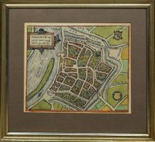 Three Antique Colored City Views, Deventer, Venlo and Maison de Ville, Lyon