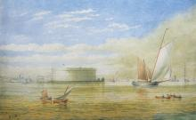 J. Buttersworth Watercolor View of New York Harbor