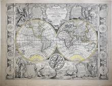 Nolin's Double Hemisphere Map of the World