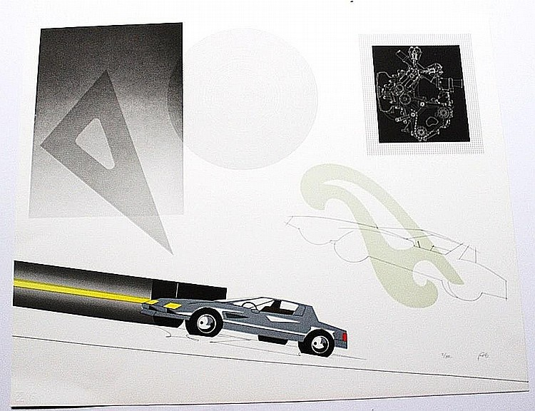 Raymond Loewy - Car with French Curves - Serigraph
