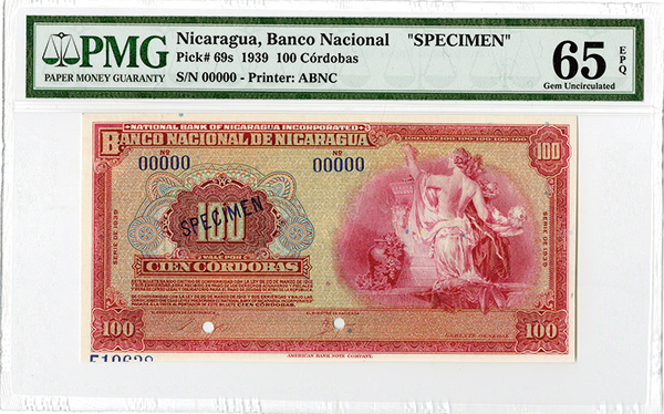 banco central de nicaragua 1939 specimen banknote rarity. Black Bedroom Furniture Sets. Home Design Ideas