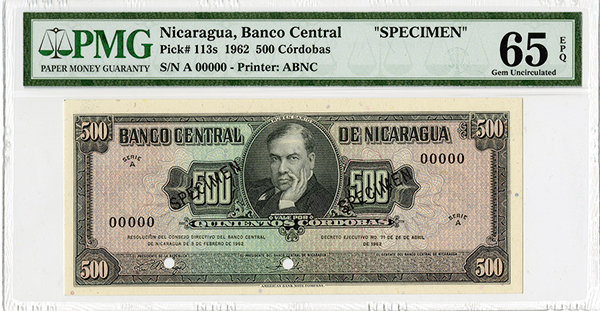 banco central de nicaragua 1962 specimen note. Black Bedroom Furniture Sets. Home Design Ideas