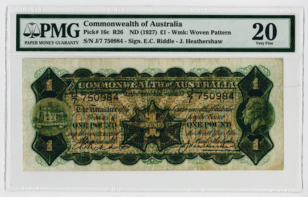 Commonwealth of Australia. ND (1927) Issued Banknote.