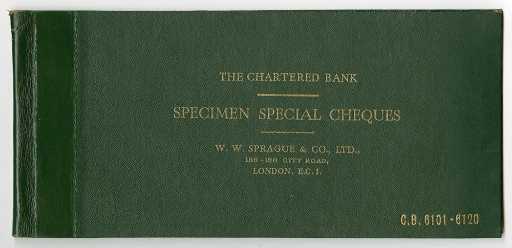 Chartered Bank, Specimen Special Cheques, W.W. Sprague & Co., LTD., ca.1940-50's Specimen Book of Check & Drafts.
