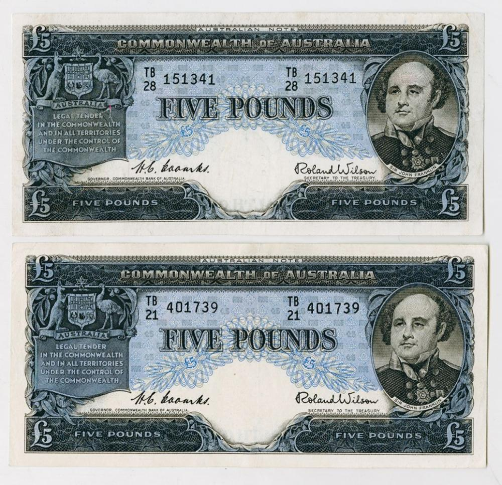 Commonwealth of Australia, 1954 to 1959 Banknote Issue Pair.