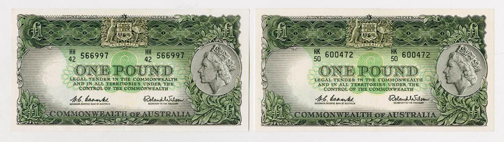 Commonwealth of Australia, Reserve Bank, ND (1961-65) Issued banknote pair.