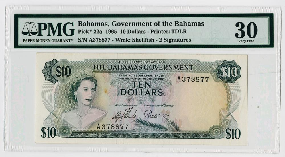 Government of the Bahamas, 1965 Issue Banknote.