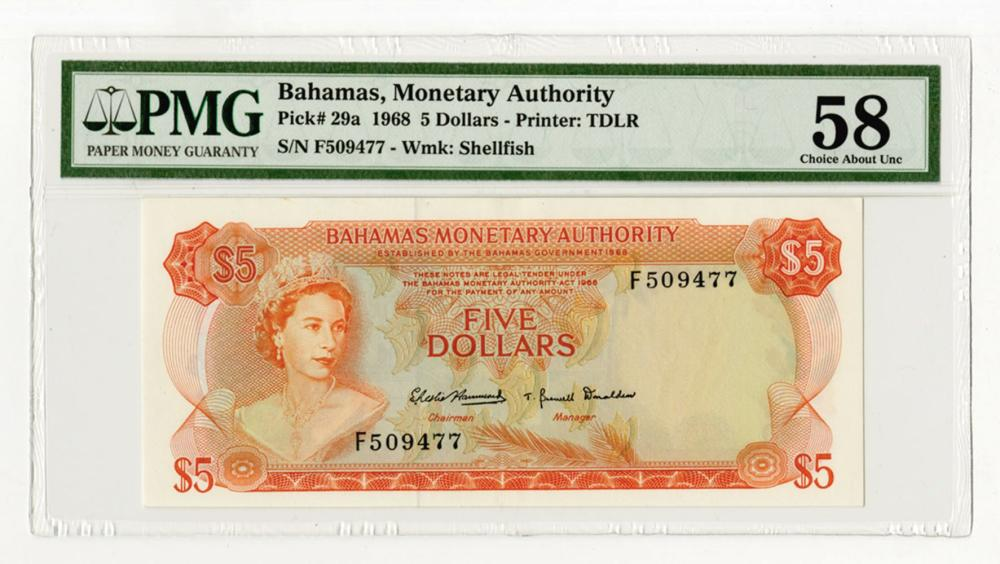Bahamas Monetary Authority, 1968 Issued Banknote.