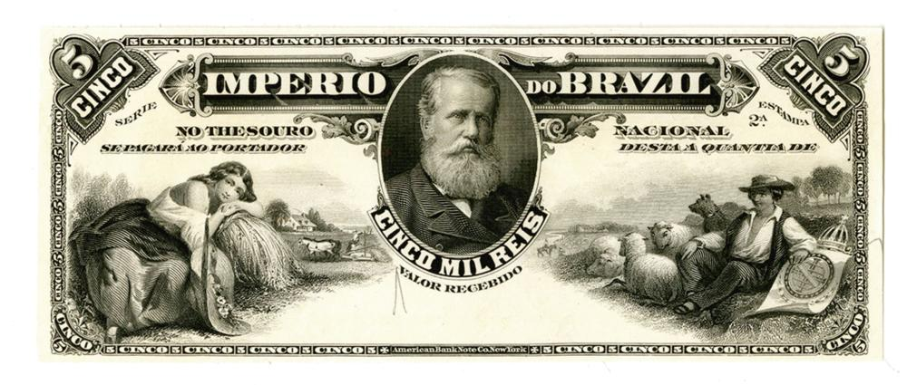 Imperio do Brazil. ND (ca. 1885). Essay Proof Banknote Similar to Estampa 8 but Estampa 2A Is engraved.
