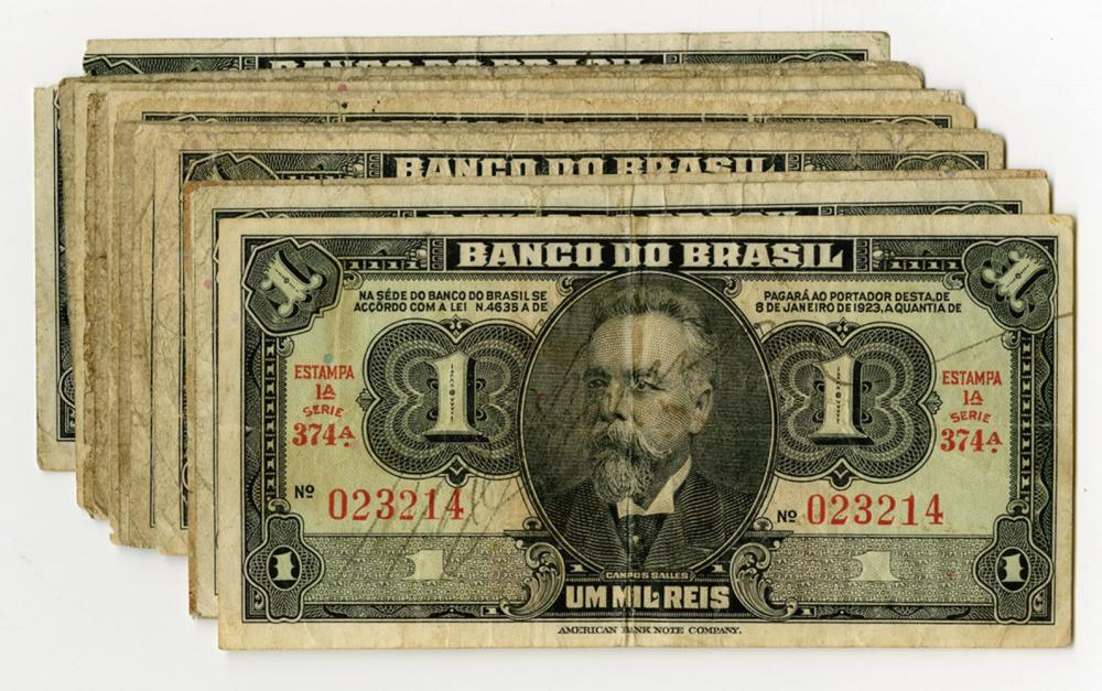 Banco Do Brasil, 1923 Issue Banknote Assortment.