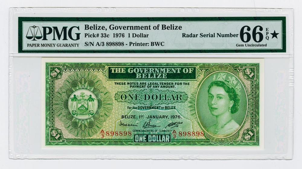 "Government of Belize 1976 High Grade ""RADAR"" Serial Number Note."
