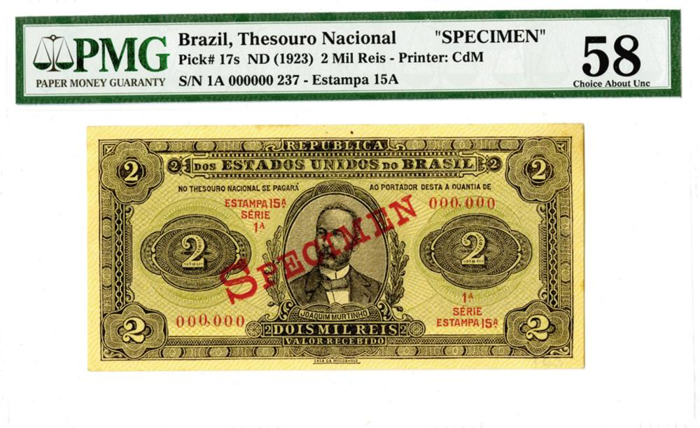Republica Dos Estados Unidos Do Brasil, Thesouro Nacional, ND (1923) Specimen Banknote.
