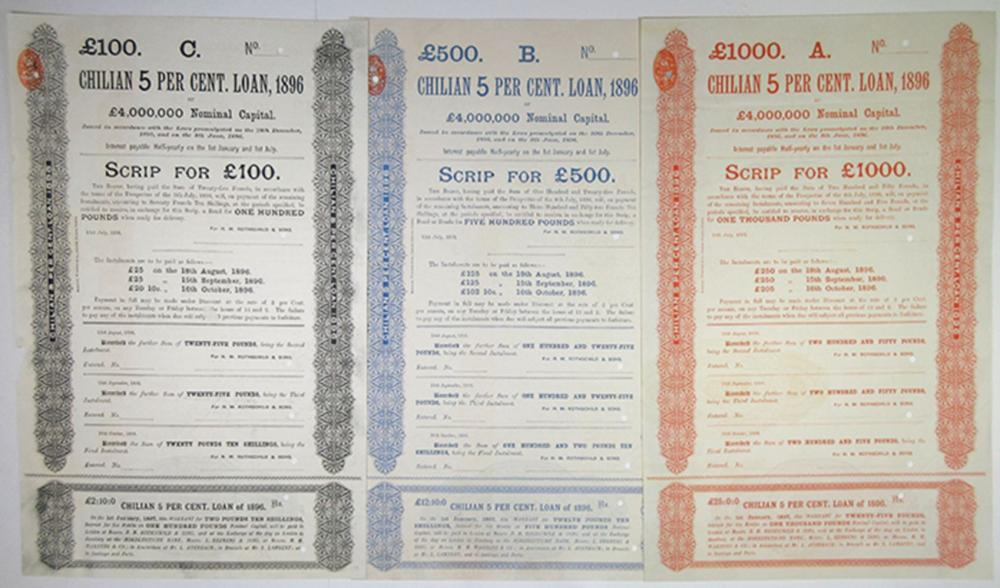 Chilean 5 Per Cent Loan, 1896 Specimen Bond Trio.