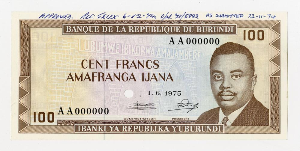 Banque De La Republique Du Burundi, 1975 Unique Approval Specimen.