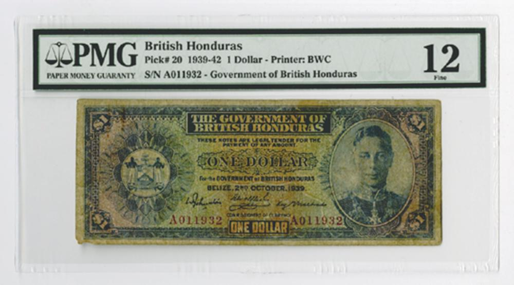 Government of British Honduras, 1939 Issue Banknote.
