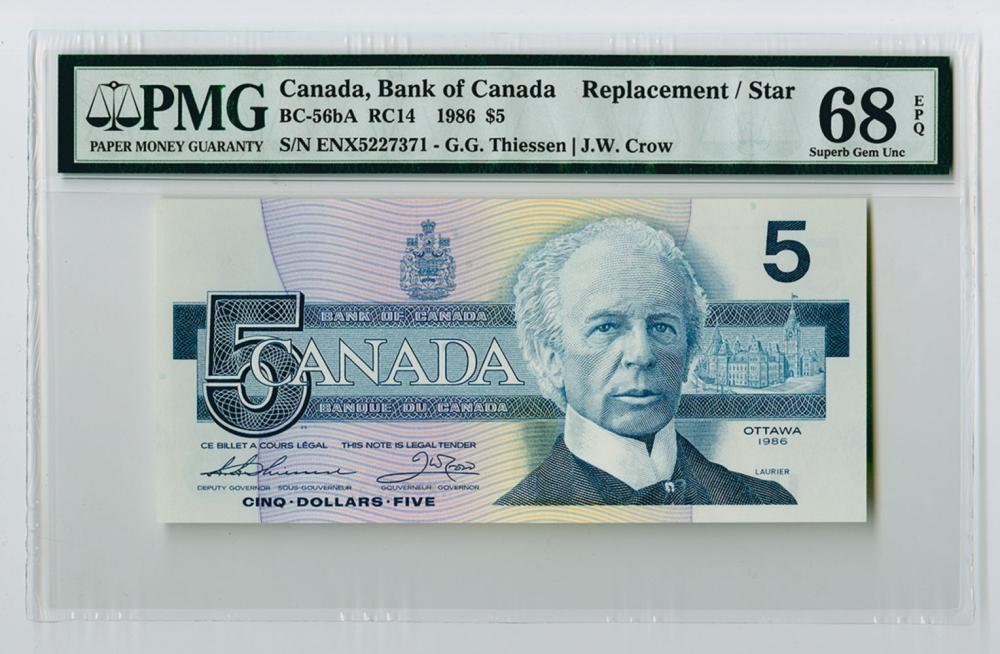 "Bank of Canada, 1986 Issued ""Replacement 