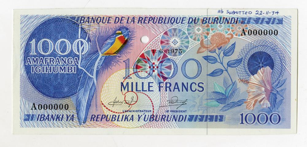 Banque De La Republique Du Burundi, 1975 Essay Specimen with 1975 date used on 19168 to 73 Note.