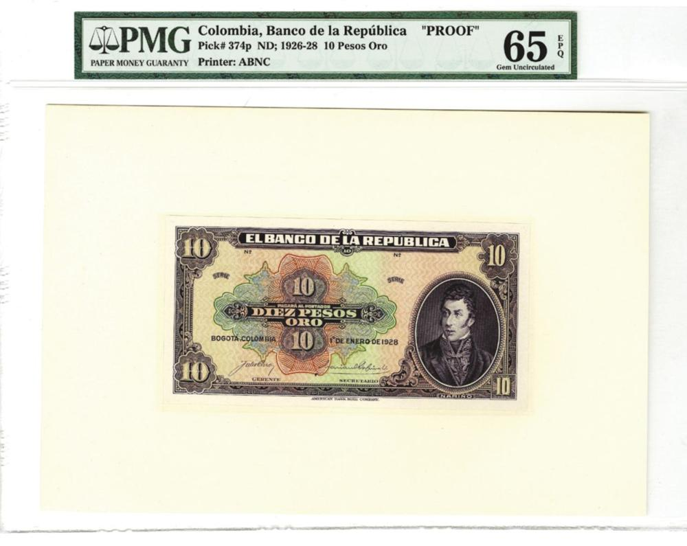 Banco de la Republica, 1928, 10 Pesos Oro Proof Banknote.