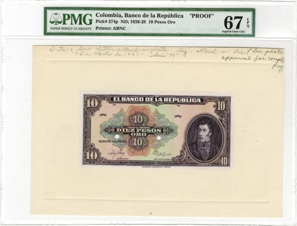 Banco de la Republica, ND (1926-28), 10 Pesos Oro Proof Banknote.