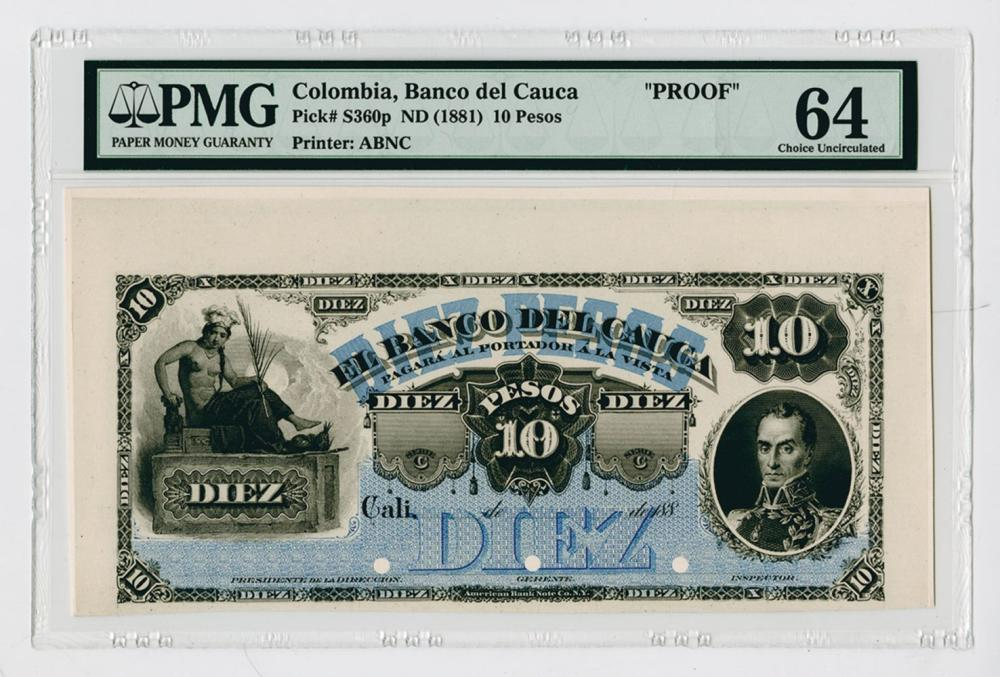Banco Del Cauca, ND (1881) Proof Banknote.