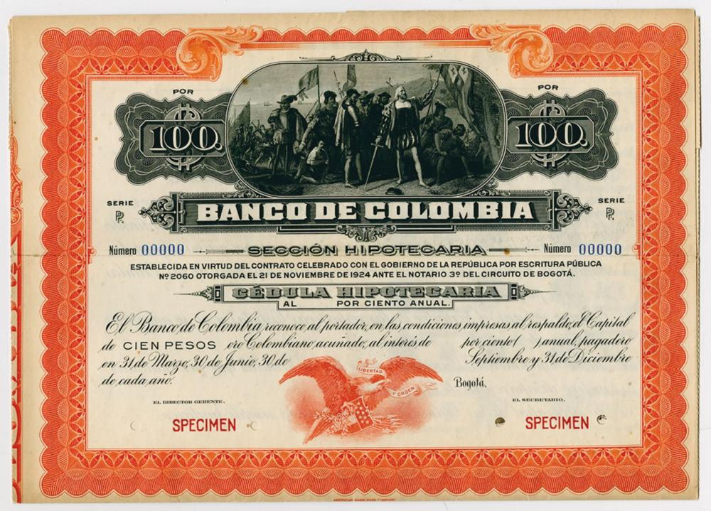 Banco De Colombia, 1918-1919 Cedula Hipotecaria Issue Specimen.