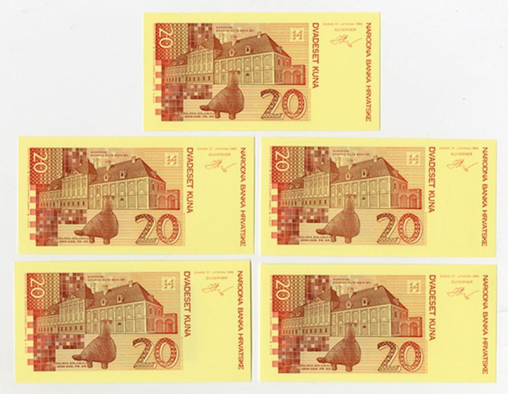 Narodna Bank Hrvatske. 1993 (1994). Quintet of Progress Proofs.