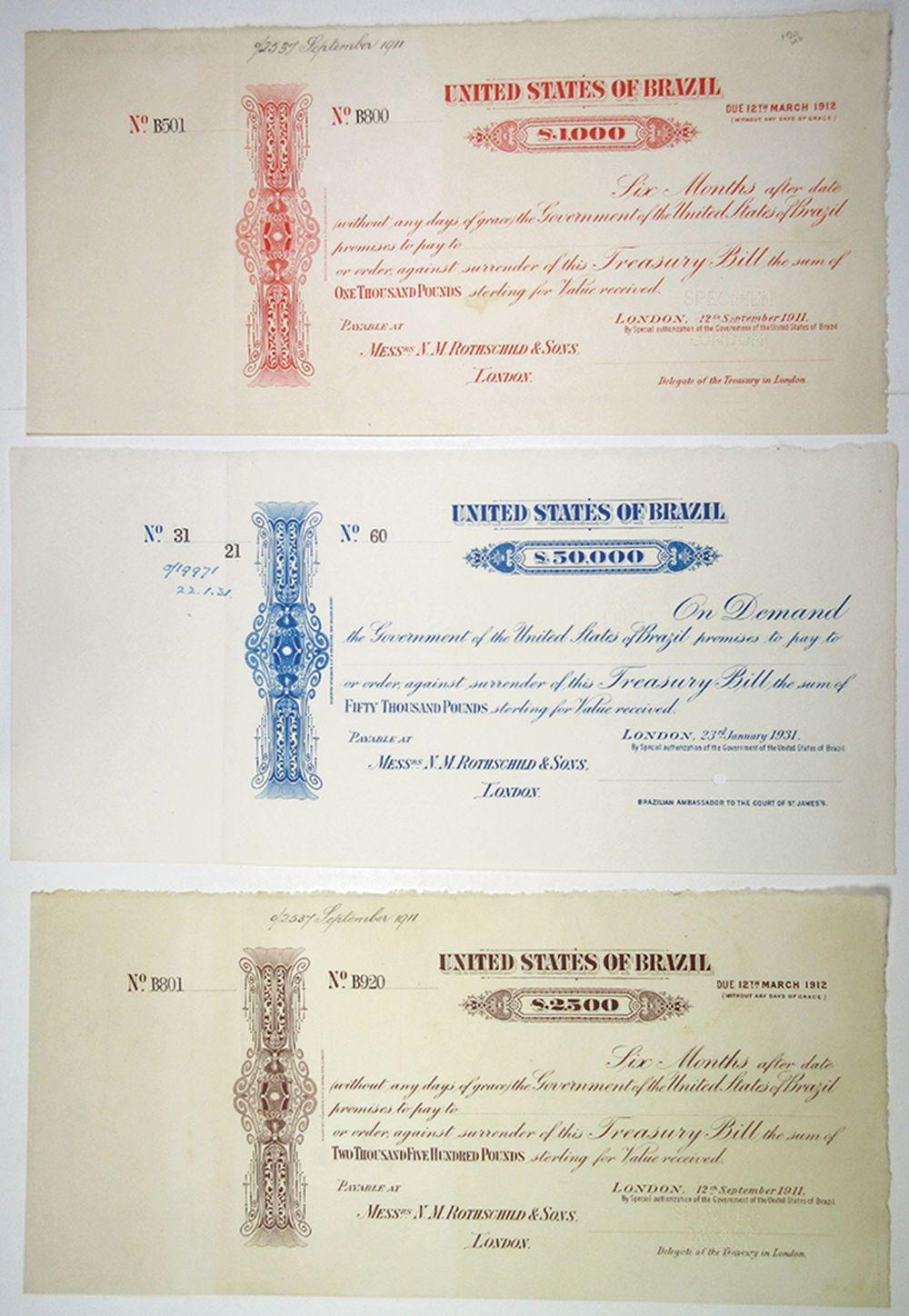 United States of Brazil, 1911 Specimen Treasury Bill Trio.