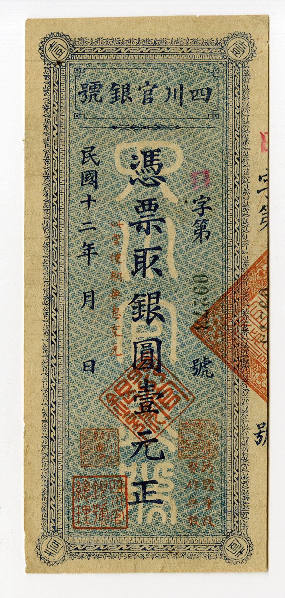 "Szechuan Official Bank, 1923 ""Dollar"" Issue."