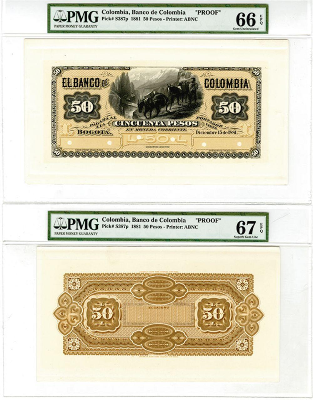 Banco De Colombia, 1881 Proof Face and Back Banknote.