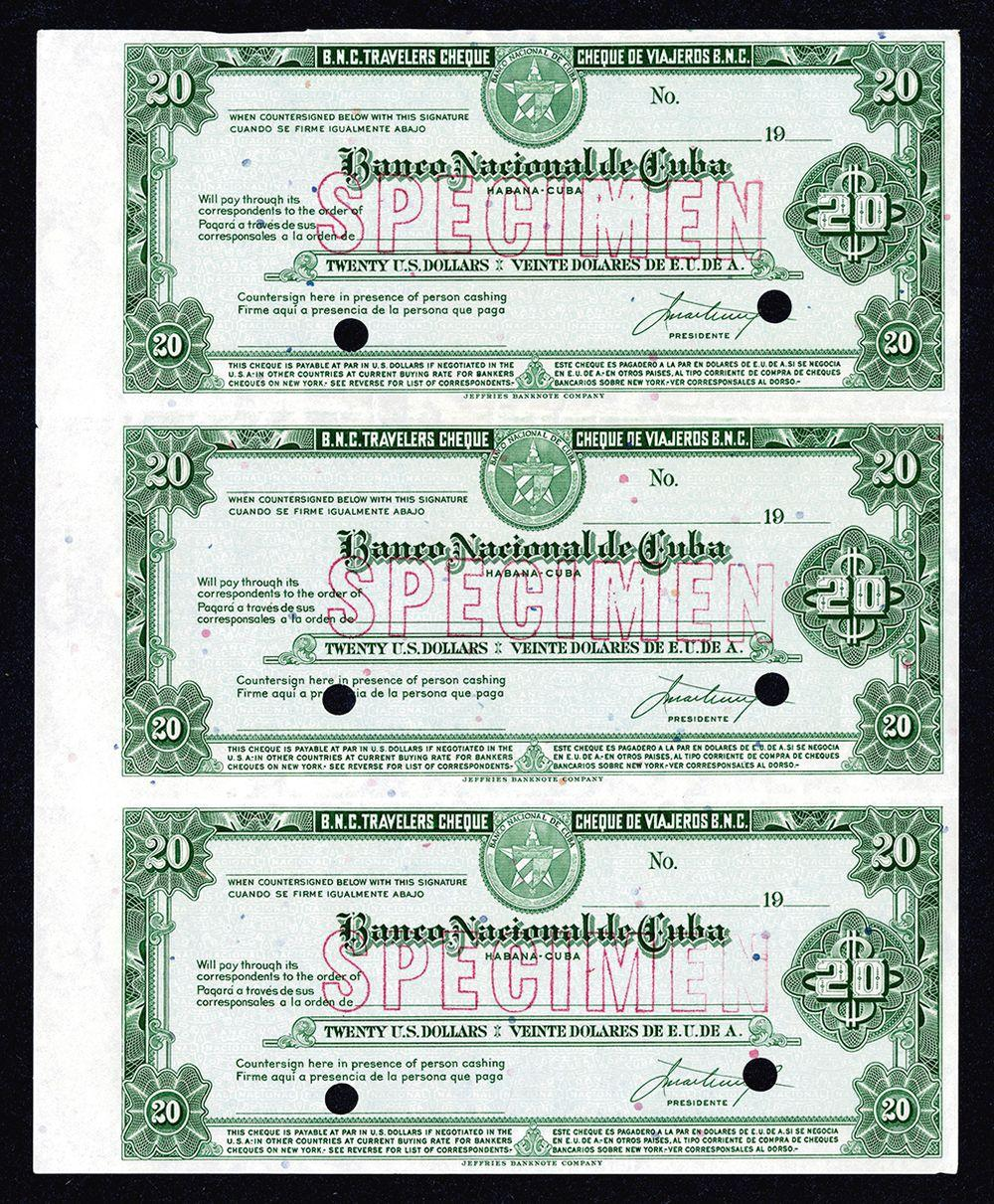 Banco Nacional de Cuba Traveler's Checks, ND (ca.1940-50's) Uncut Specimen  Sheet of 3.