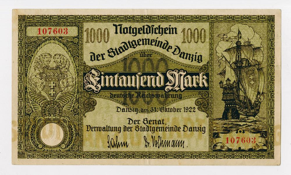 Der Stadtgemeinde Danzig, 1922 Post WWI Inflation Issue.
