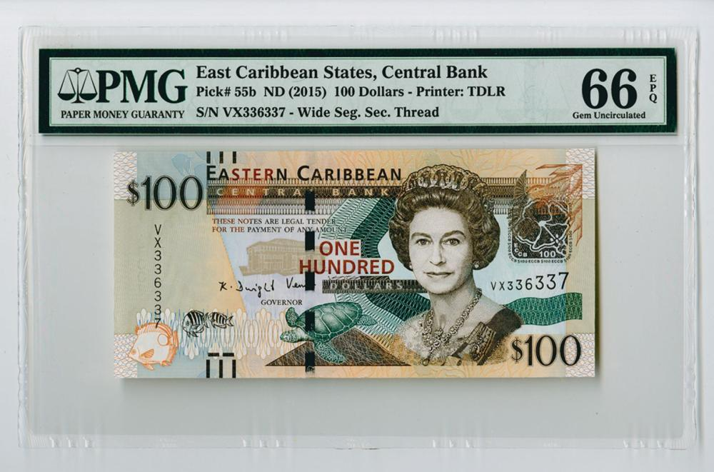 Eastern Caribbean Central Bank, ND (2015) Issue Banknote.