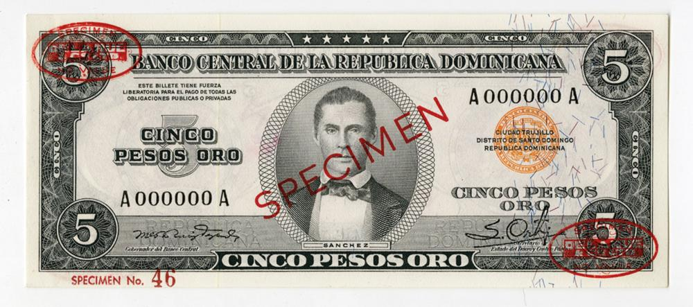 Banco Central De La Republica Dominicana, ND (1952) Specimen Banknote.