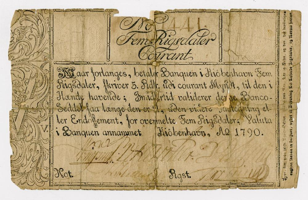 Copenhagen Notes, Exchange and Mortgage Bank, 1790 Banknote.