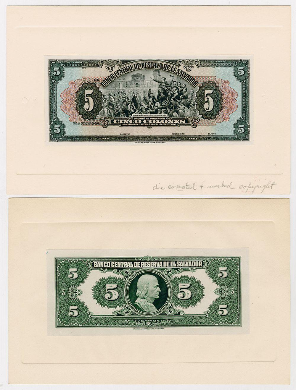 Banco Central de Reserva de El Salvador. ND (1964). Front & Back Proof Pair.