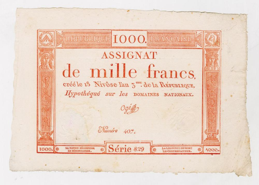 Republique  Francais, 1795 Franc Issue Banknote.