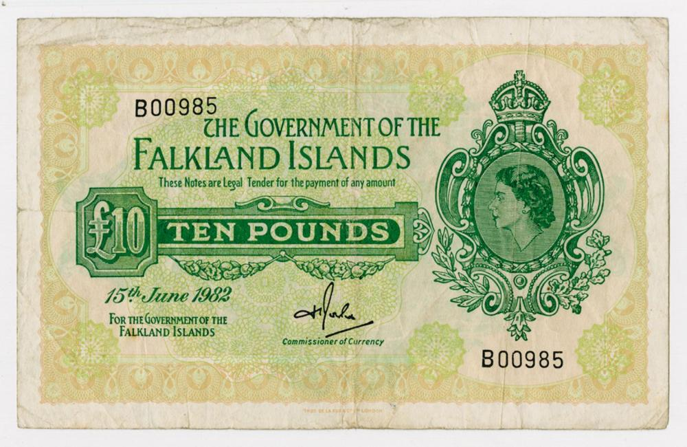 Government of the Falkland Islands, 1982, £10 Issued Banknote.