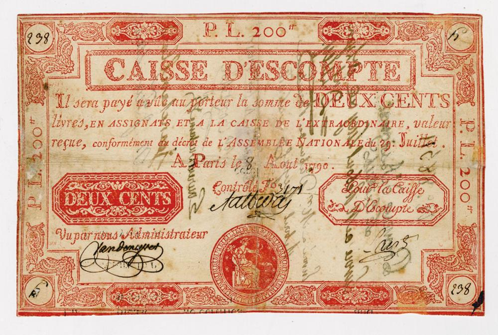 Caisse d'Escompte, 1790 Issue Rarity