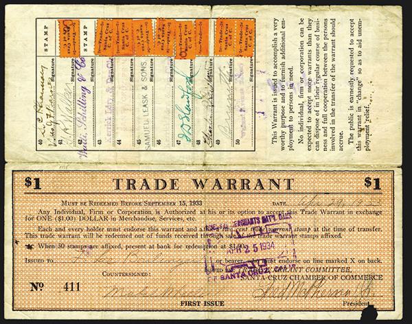 Santa Cruz Trade Warrant 1933