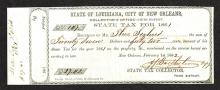 State of Louisiana, City of New Orleans State Property Tax form for 1861 Taxes Including Slaves.