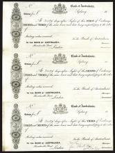 Bank of Australasia, 1877 Uncut Sheet of 3