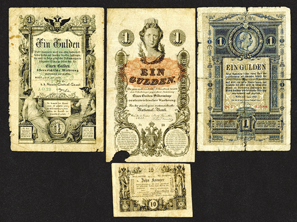 K.K. Hauptmunzamt Munzscheine. 1860 Issue, K.K. Staats Central or Reichs Central Cassa Issues and another.