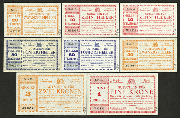 Austria Ð k.u.k. Gewerbelager ND WW I group of 8 Gutschein POW Issue