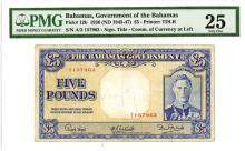 Bahamas Government, 1936 (1945-47) Issued Banknote.