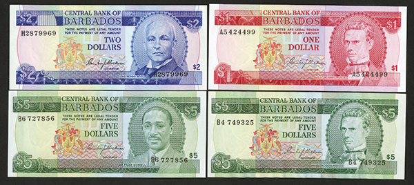 Central Bank of Barbados ND(1973) Bank Note Issue