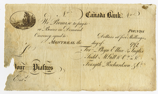 Canada Bank, 1792 Remainder Obsolete Banknotes.