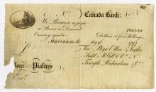 Canada Bank, 1792 Remainder Obsolete Banknotes.