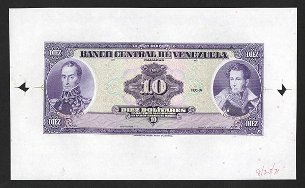 Banco Central de Venezuela ND (1971) ABNC Progress Production Proof.