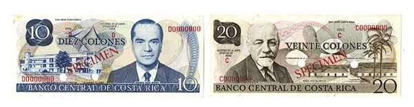 Banco Central De Costa Rica, 1968-72 Specimen Pair.